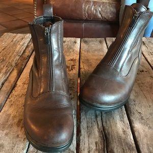 Dansko brown leather zip up boots.